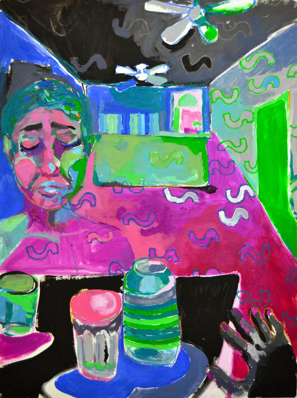 "Keep Riding Shotgun  acrylic, oil, pastel on paper 18"" x 24"""