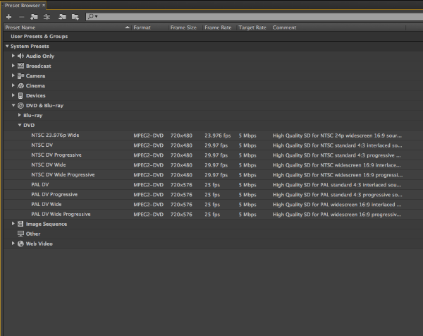 The Preset Browser is found in Adobe Media Encoder (