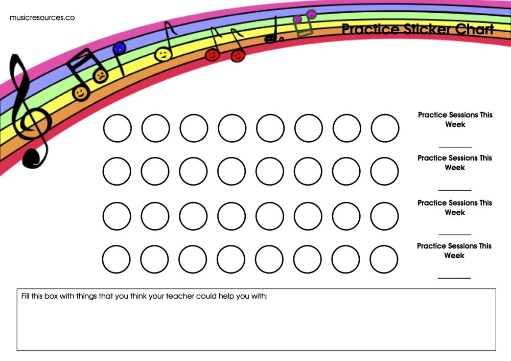 *Use this sticker chart if you want to mark daily practice progress!