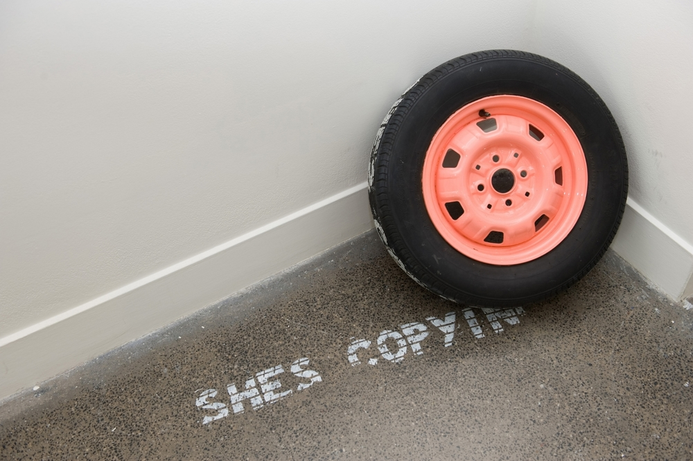 H.W.Y (She's copying me)  car tyre relief print  dimensions variable