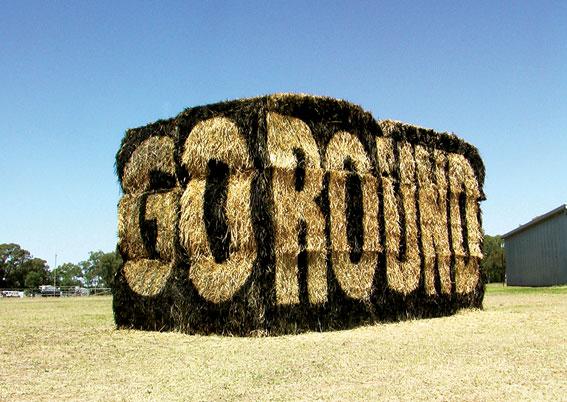 Go-round  stencil on haybales  3 x 5 x 3m  Photo: Michael Meneghetti