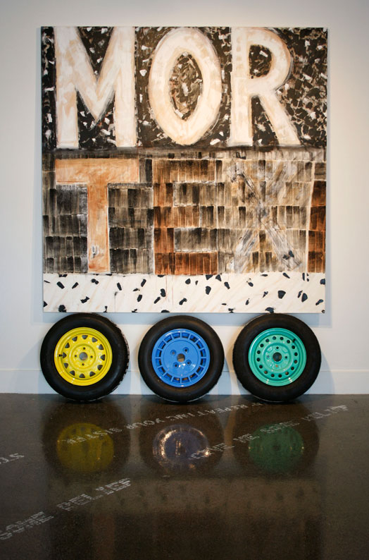 Morte (X)  oil, charcoal, rust, and ochre on canvas and three care tyre relief prints.  240 x 180 cm