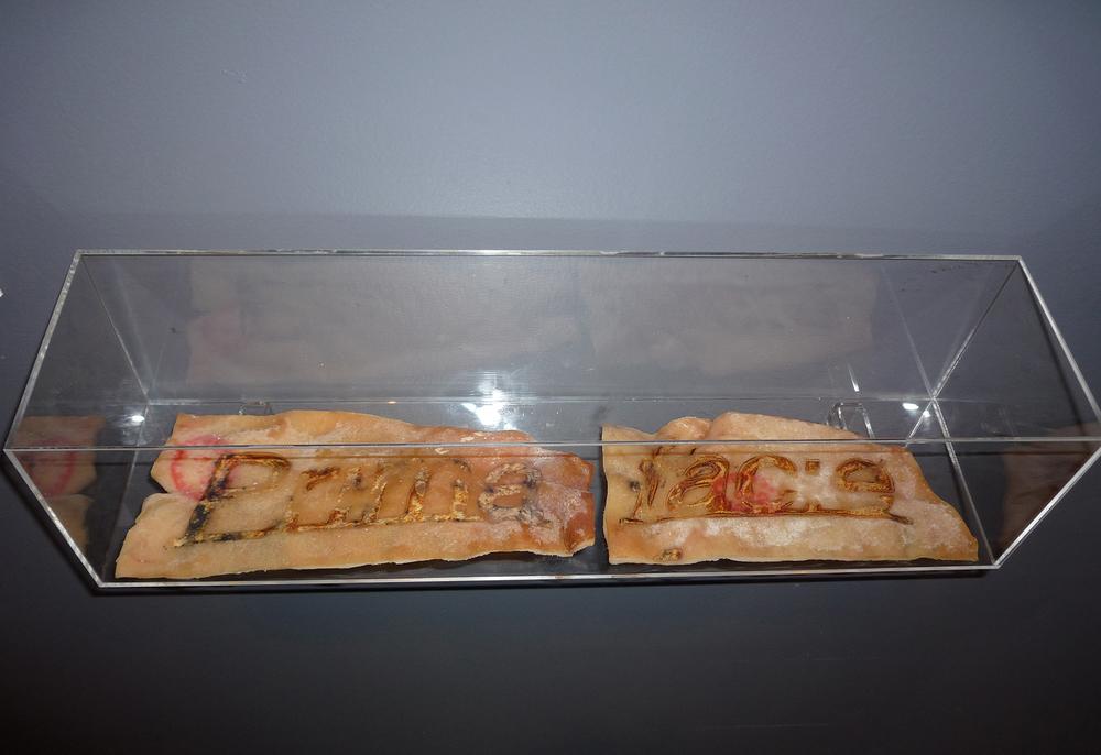 Prima facie  hot iron brand on pig skin  12 x 12 50cm