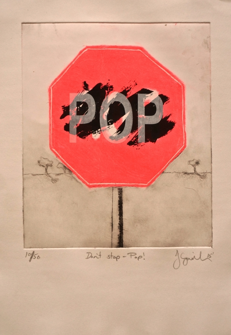Don't stop - Pop!  colour etching and screen-print on paper  30 x 18cm  Artclub commission