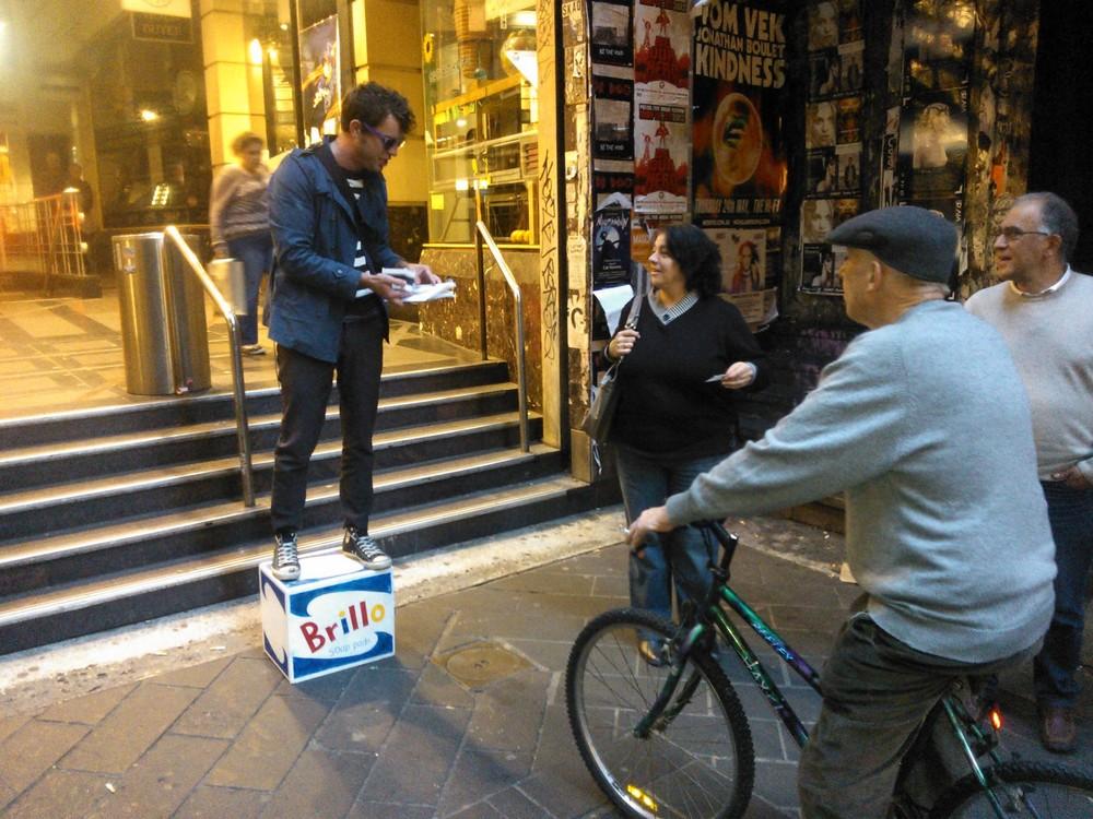 Photograph: Gwen Gilchrist  Soap box oration De`Graves St Melbourne 2011