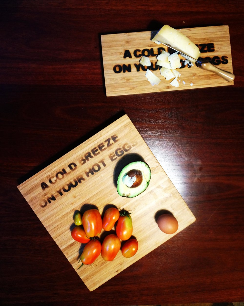 - A Cold Breeze On Your Hot Eggs Breadboard$15.00Contact: joel@joelgailer.com.au