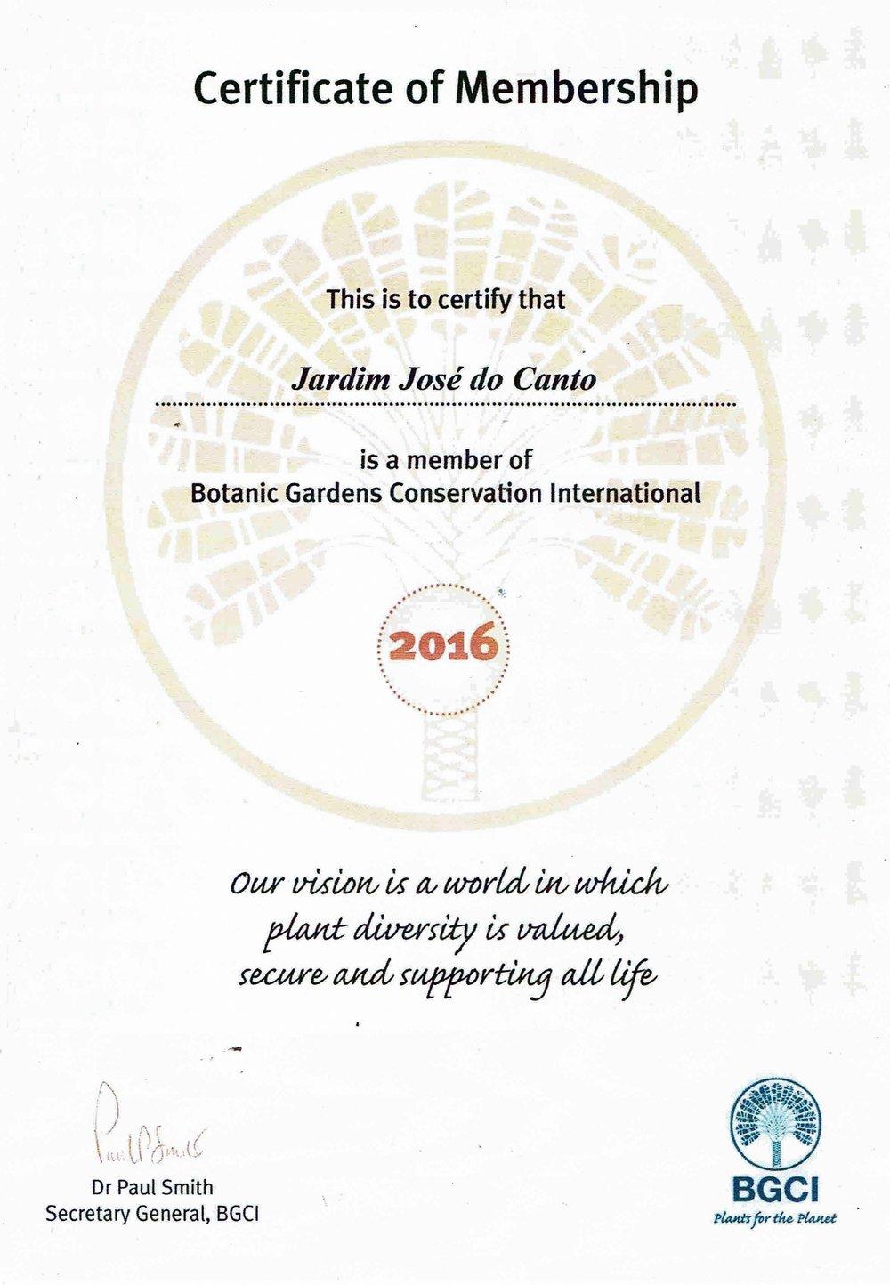 BGCI certificate