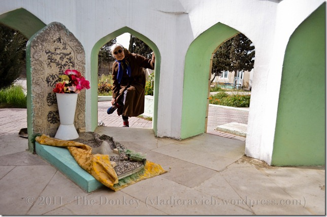 At this pir in Mashtaga, it is considered good luck to weave in and out of the seven doorways of this outdoor grave.