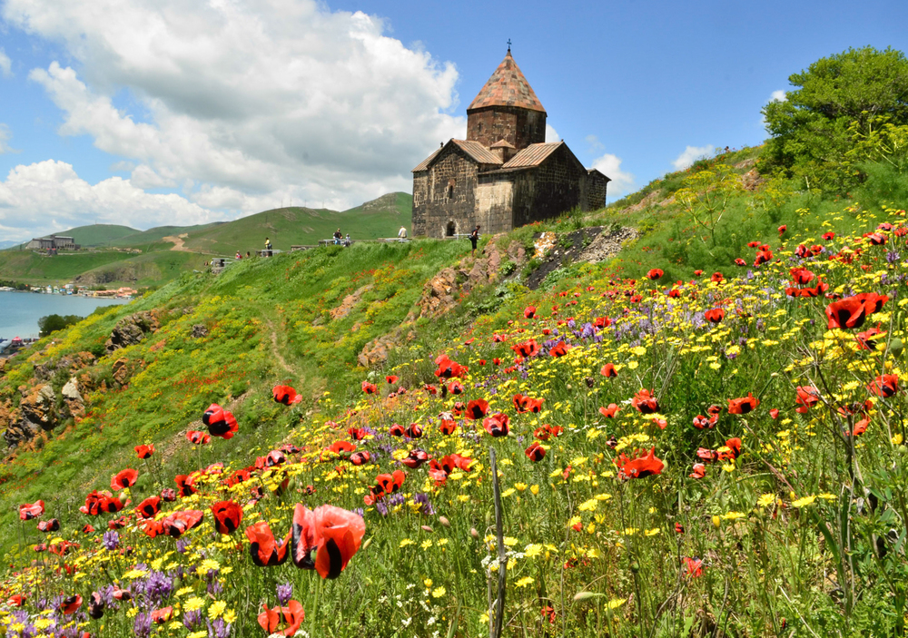 The Sevan Monestary, overlooking the Lake Sevan in central Armenia.