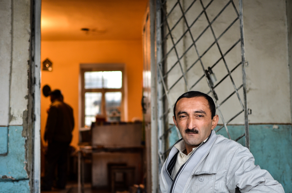 A blind tea house owner in Sheki, Azerbaijan.