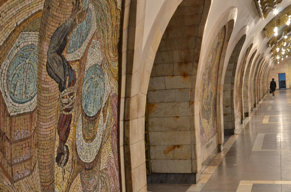 Murals adorn the Baku metro
