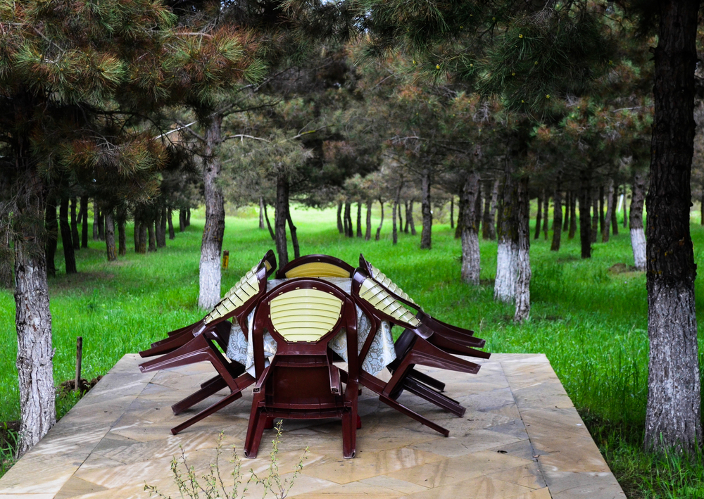 An outdoor restuarant in an orchard off the highway to Baku.