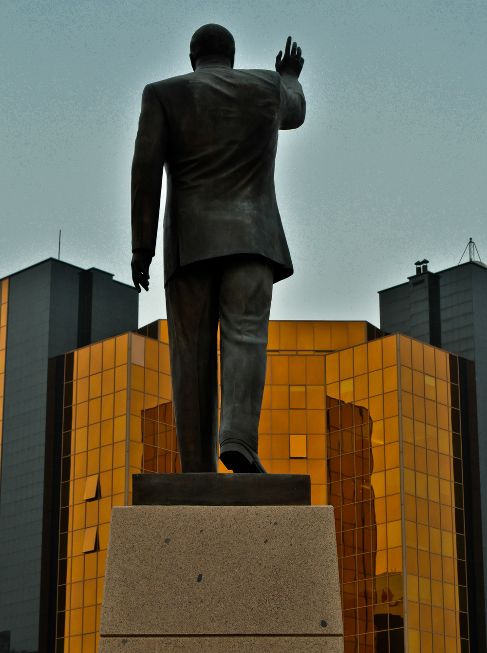 One of the countless monuments to Heydar Aliyev, this one in front of the country's central bank. Heydar was a member of the Soviet Union's leadership before reemerging as the absolute leader of Azerbaijan during the tumulteous period of indepedence and war in the early 1990's. He is widely credited with creating both the stability and the monopoly on political power exhibited by the government of his son - and current president - Ilham Aliyev.