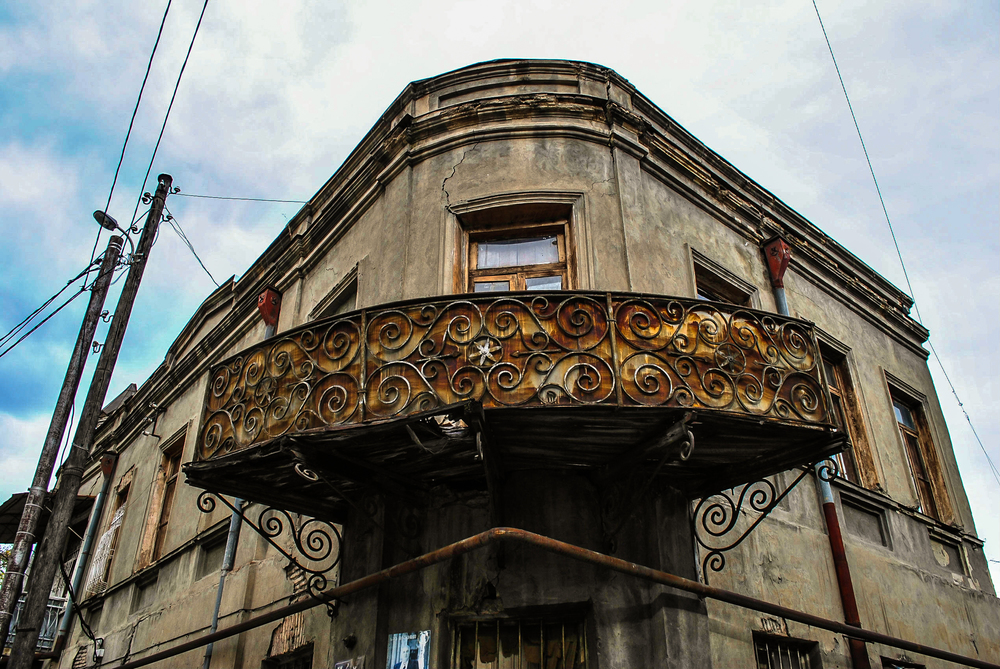 "A balcony in the ""old town"" part of Tbilisi."