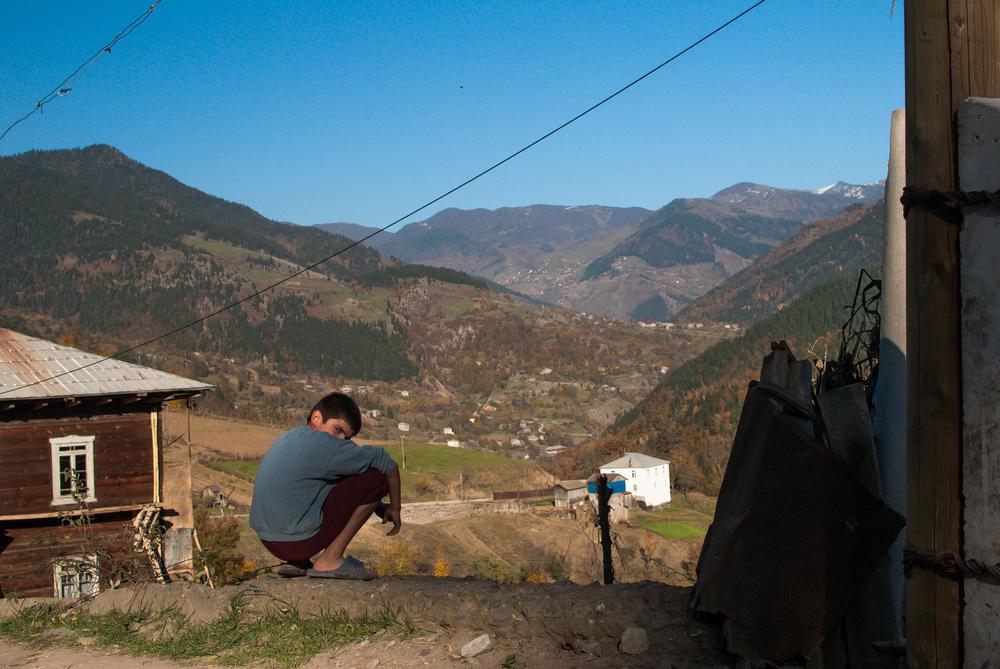 A boy in the Adjara region of Georgia
