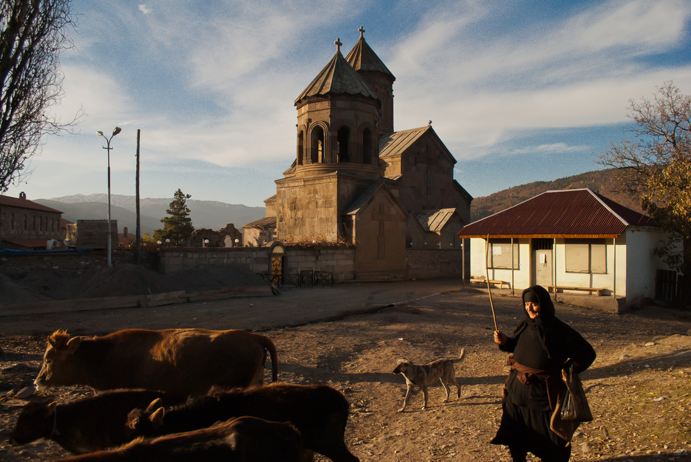 When the cows come home - a daily task. Near the Zarzma church, which dates back to the 14th century (with remnants from the 8th century)