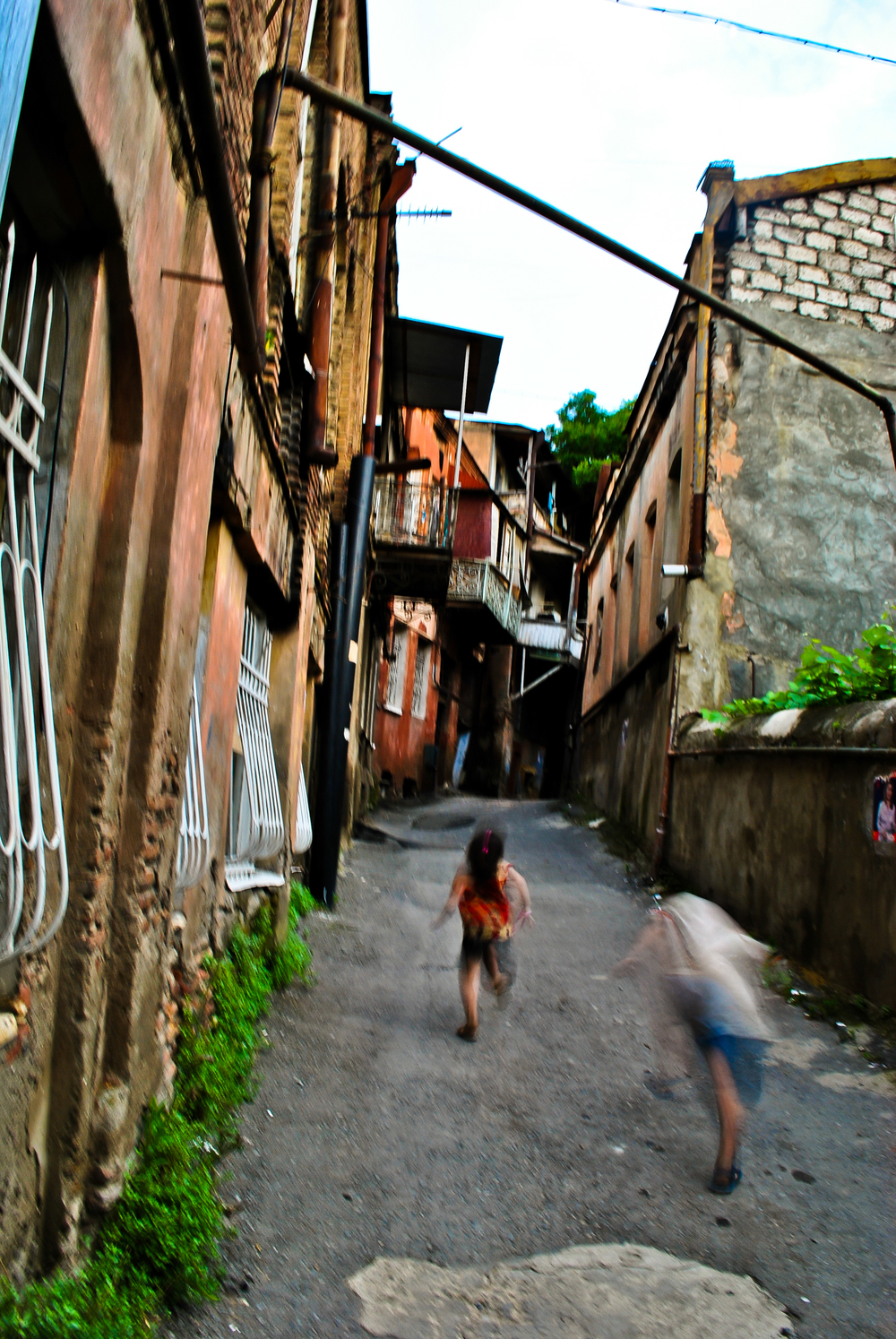 Children playing in the streets of Tbilisi's old city in the Republic of Georgia.
