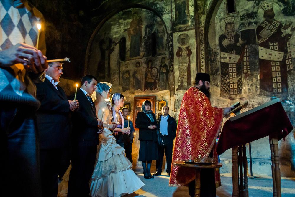 A wedding inside the 12th century Virgin's Assumption Church inside the Vardzia complex.