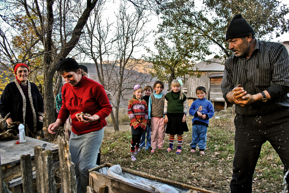 Villagers from Zarzma, Georgia  fetching a handful of nuts as a gift to a passerby (me).