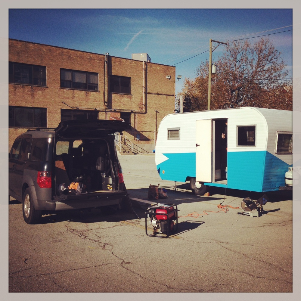 Timmy set up in his Chicago parking lot ready to have new floors installed.