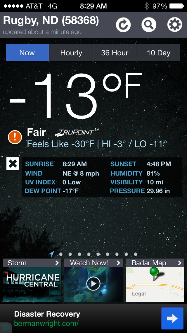 What does -13 feel like?  It feels cold.