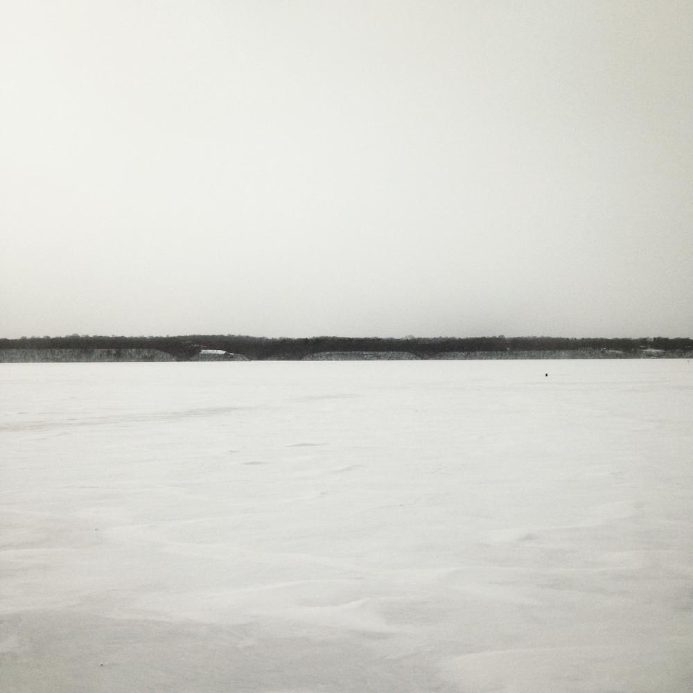 Mississippi River, frozen in Minnesota.