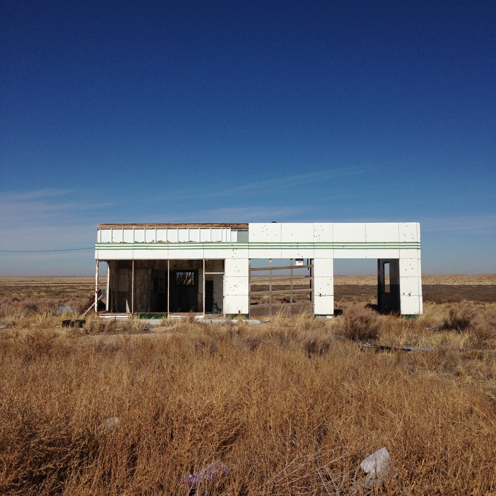 abandoned gas station on the border of Texas & New Mexico