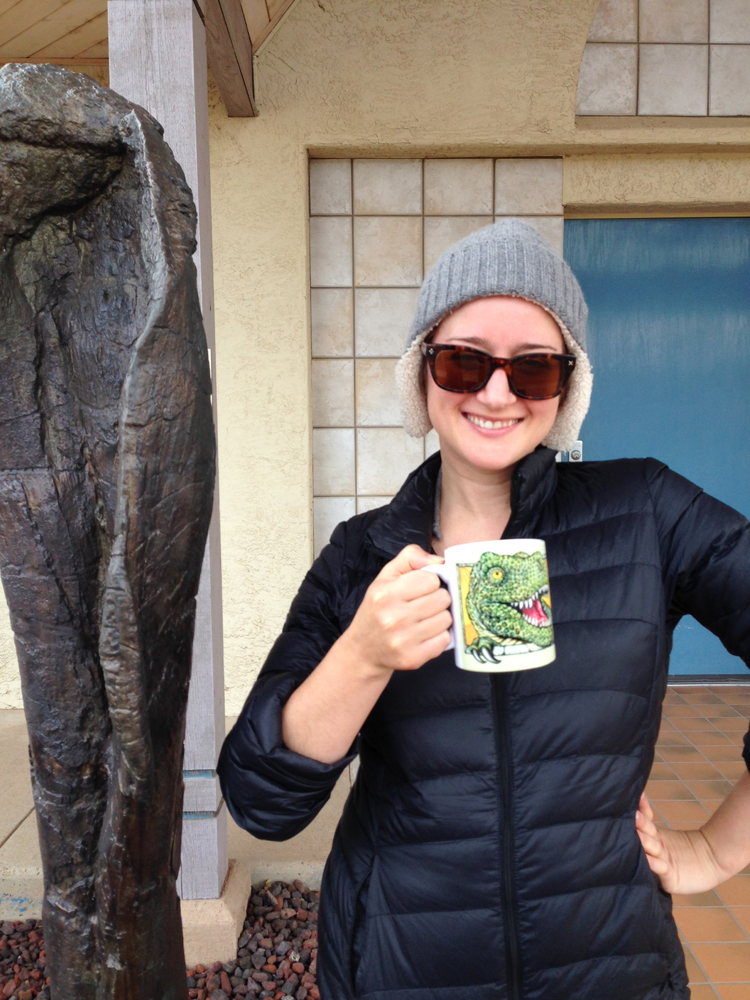 Sarah is in a fierce competition with Eric's  Attic Fire  business partner, Jeremiah. He collects mugs from aviation museums and she collects mugs from Dinosaur museums. This is from the Mesalands Dinosaur Museum in New Mexico. Jeremiah may or may not know about this competition.