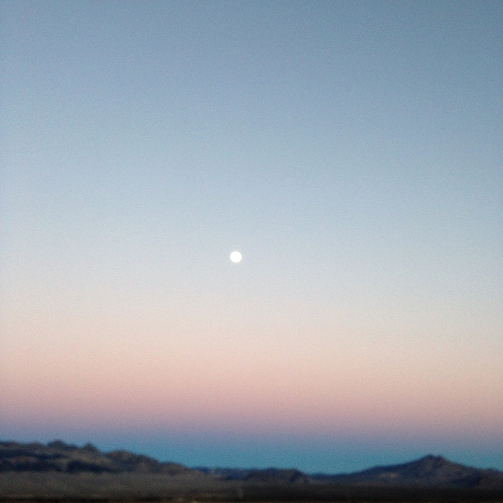 Moon on the way in to Death Valley