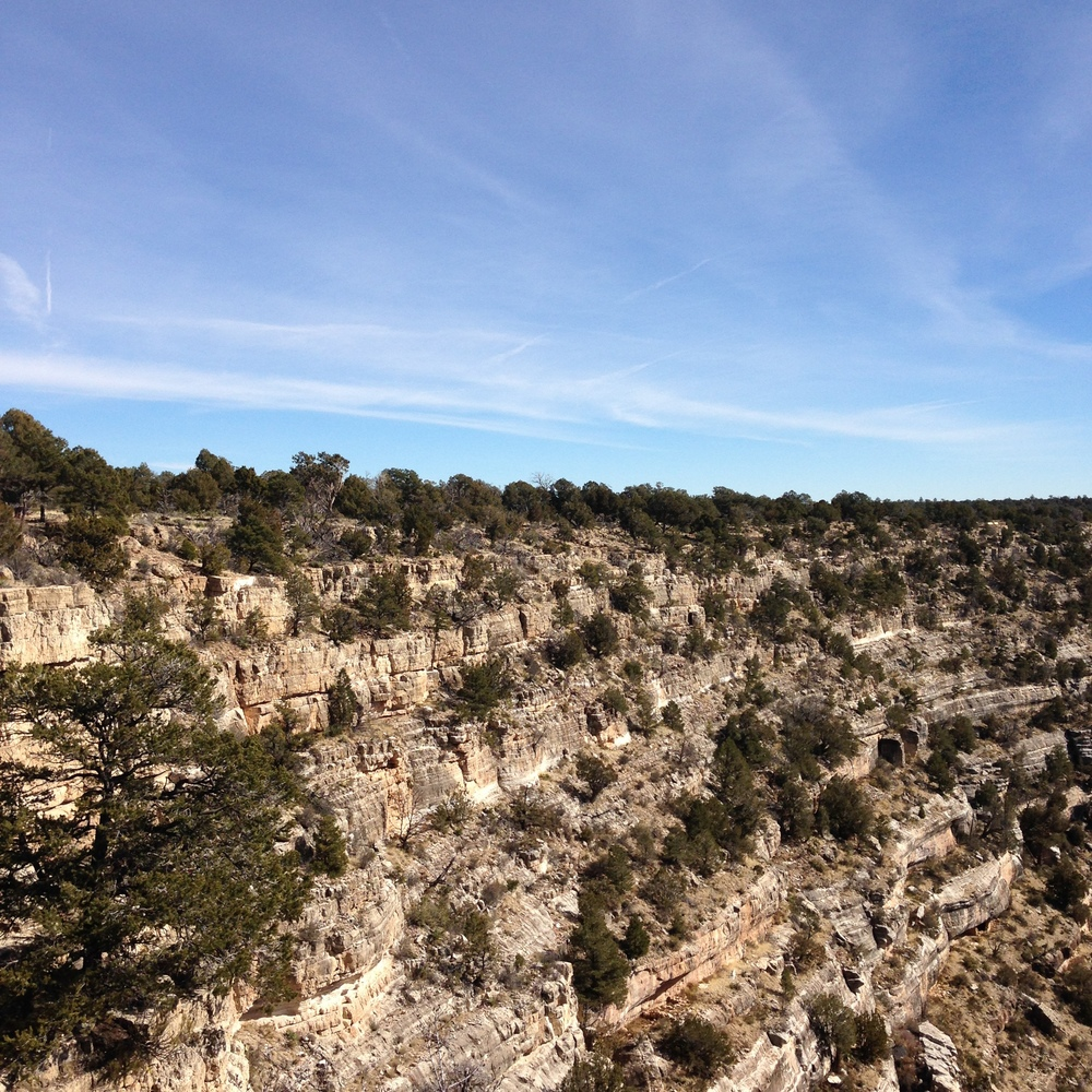 Our next stop was Walnut Canyon. An unplanned trip but the weather was so nice we couldn't help but stop! The Hopi lived in this canyon and their homes are still carved in to the sides of the rock. We walked down and around and then back up - 200 and some stairs.