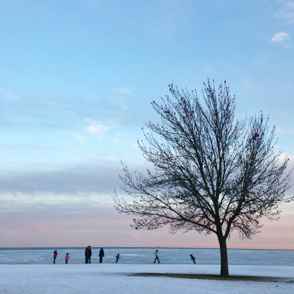 A family took some portraits on the Lake. Oh, Chicago!
