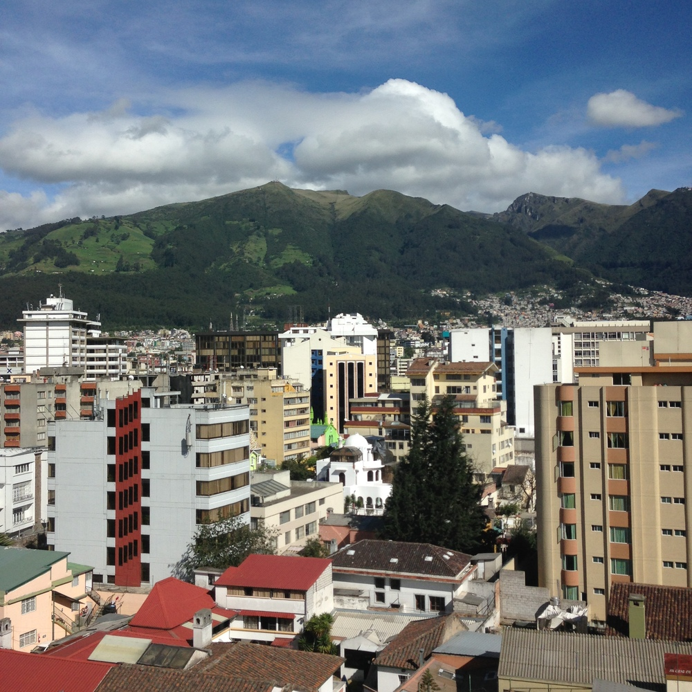 View of the Pichincha Mountains from our bedroom window
