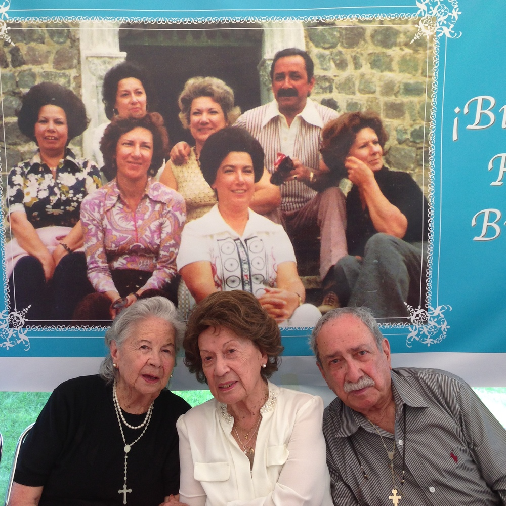 "Tia Fabi, Mamita Irene and Tio Pepe.  Pepe was the only boy in the family with six sisters.  My grandmother was the one in the middle.  Pepe and Fabi are married and only the cutest people in the whole entire world.  In Ecuador they say we ""swallow our years"" (tragar anos)....looking good Tio's!  Thats a young 95!"