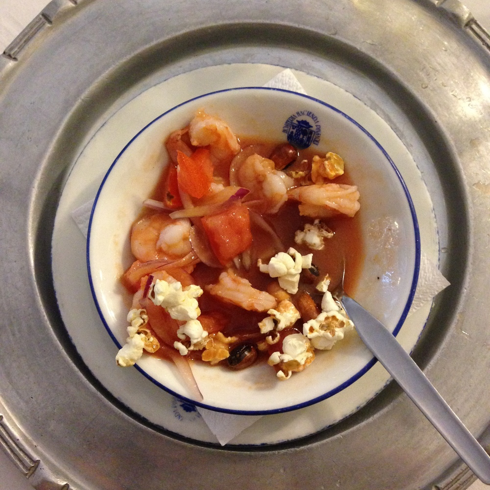 Traditional ceviche in Ecuador is served in a tomato broth and then you put popcorn and corn nuts in it.