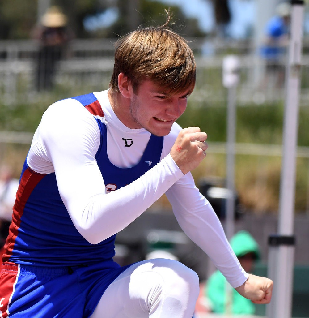 Los Alamitos' Kevin Schmitt finished second in the high jump during the CIF-SS Track and Field Masters meet at El Camino College in Torrance, Calif., on Saturday, May 26, 2018.