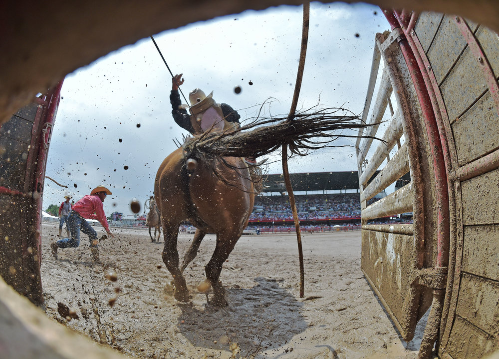 Bareback rider Ty Breuer, from Mandan, North Dakota, blast out of the chute aboard Bent Rail Sourdough during his muddy ride Saturday July 28, 2018 at the 122nd Cheyenne Frontier Days Rodeo in Cheyenne, Wyoming.