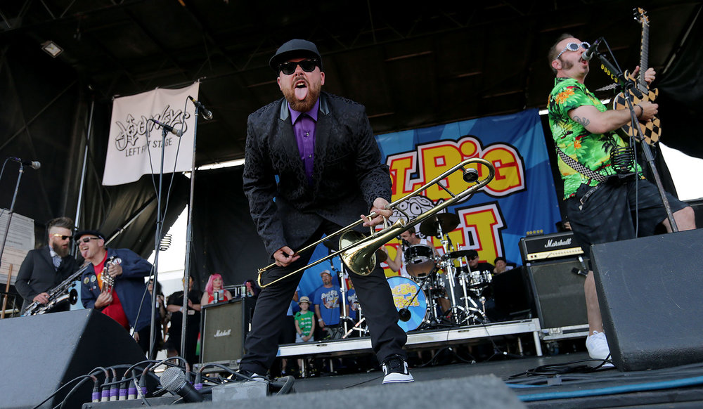 Reel Big Fish perform on Journeys Left Foot Stage during the first date of the final Vans Warped Tour at Pomona Fairplex Thursday in Pomona, Calif. June 21, 2018.