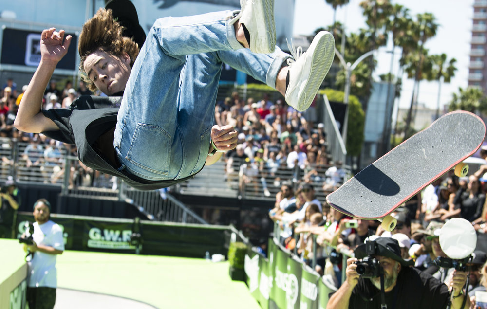 Trey Wood loses his skateboard during his run as he competes in the Team Challenge Park at the Dew Tour in Long Beach June 30, 2018. More than 80 of the world�s best male and female skaters compete at Dew Tour in competitions that include men�s and women�s individual Pro and Amateur Park and Street competitions, Dew Tour�s signature Transworld Skateboarding Team Challenge, a Switch Jam and a skateboard legends Love+Guts Jam. The entire Dew Tour event is free and open to the public.