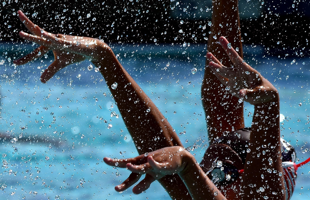 USA synchronized swimmers practice for the upcoming 2018 Synchro America Open at Splash! La Mirada Regional Aquatics Center in La Mirada, Calif., on Wednesday, June 6, 2018.