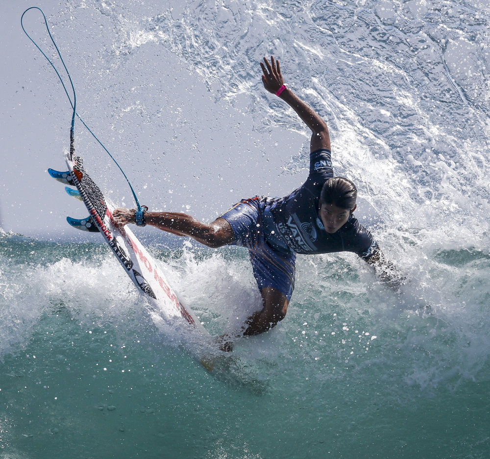 Kanoa Igarashi of Japan competes during the men's final in the US Open Surfing at Huntington Beach in California on August 5, 2018. Kanoa Igarashi of Japan won the title.