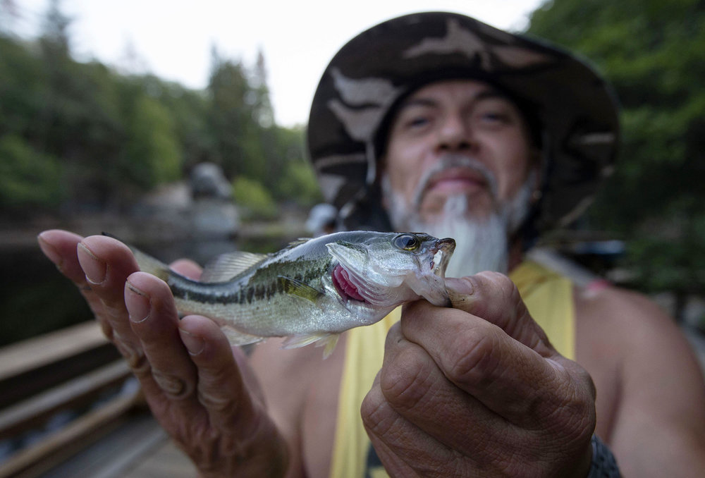 The first catch of the evening for fisherman Charlie Arouza of Moreno Valley was a small bass as he posed with the fish before releasing it back into Lake Fulmor on a warm night along the Palms to Pines Scenic Byway between Banning and Idyllwild on Friday, September 7, 2018.