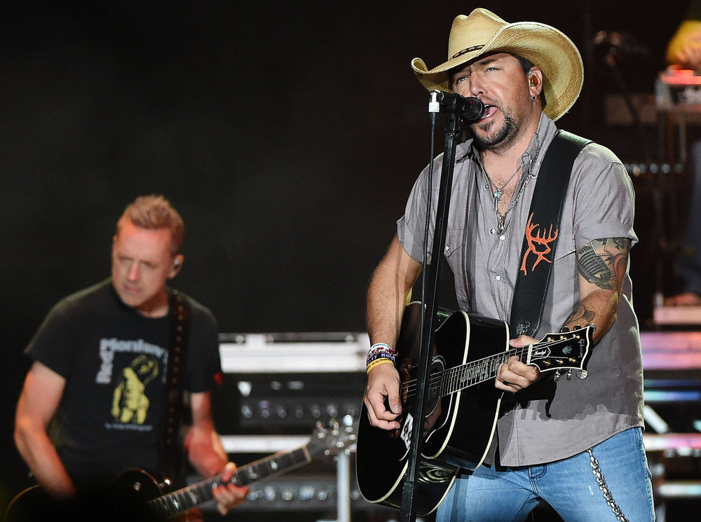 Country music artist Jason Aldean performs the final show of his High Noon Neon Tour Saturday, September 29, 2018 at FivePoint Amphitheatre in Irvine. Approximately 500 Route 91 survivors attended the show. Aldean was on stage in Las Vegas last October 1 when a gun man shot and killed 58 concert goers at the Route 91 Harvest Festival.