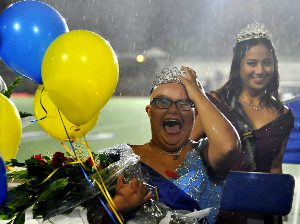 Jessica Rodriguez was named Homecoming queen as a thunderstorm rained down at half time of a prep football game between Los Altos and Charter Oak at Charter Oak High School on Friday, October 12, 2018 in Covina, California. The game was postponed until Saturday night at 7pm.