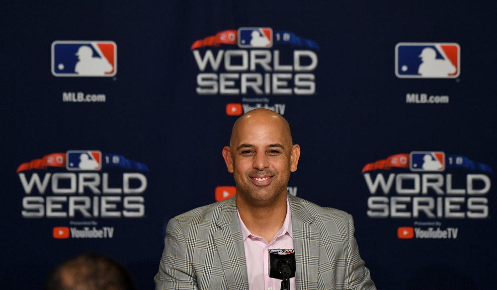 Boston Red Sox manager Alex Cora speaks to the media during a press conference prior to game three of the World Series at Dodger Stadium on Thursday, October 25, 2018 in Los Angeles, California.