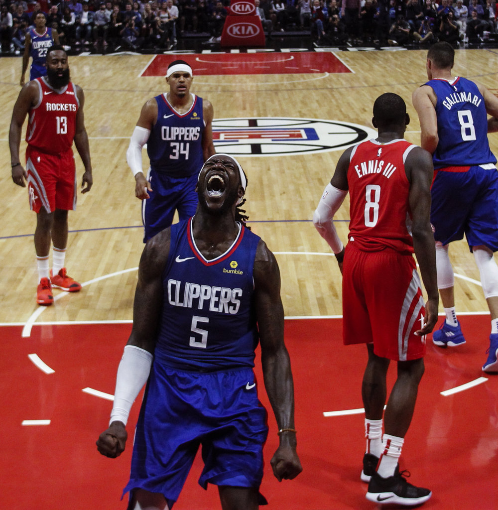 Los Angeles Clippers Montrezl Harrell celebrates after scoring against Houston Rockets during an NBA game in Los Angeles, Nov. 22, 2018.