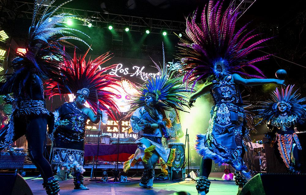 Mexika Aztec dancers perform at the Long Beach 5th Annual Dia De Los Muertos Festival on Pine Avenue in Long Beach November 2, 2018.
