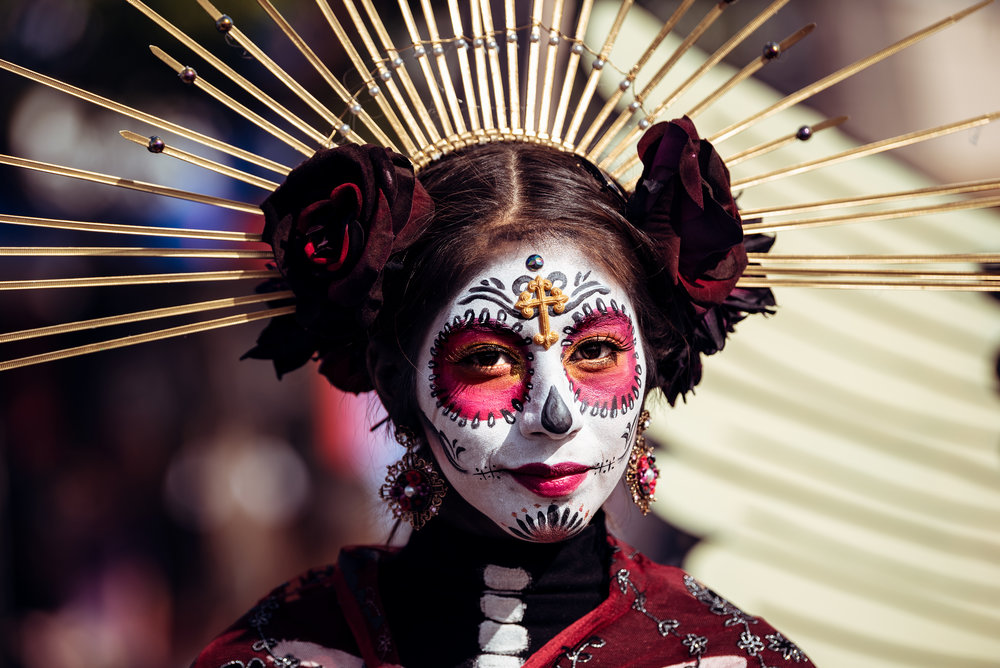 Participant in Dia de los Muertos (Day of the Dead) celebration