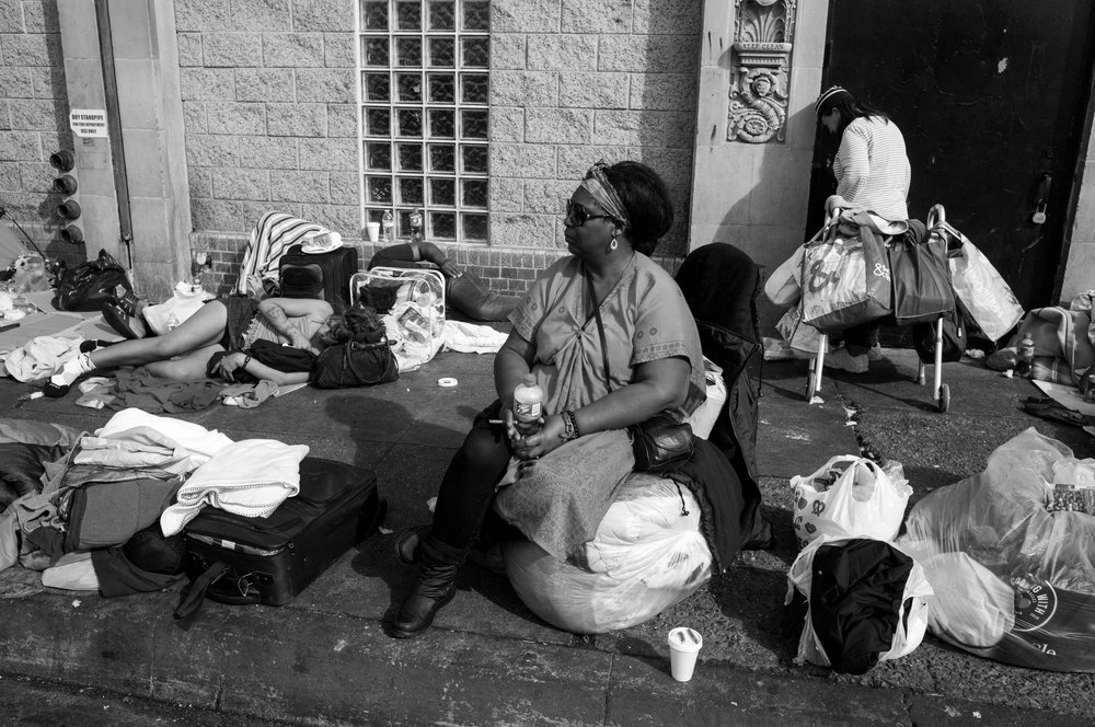Homeless people at Skid Row in downtown Los Angeles on Nov. 22, 2108.