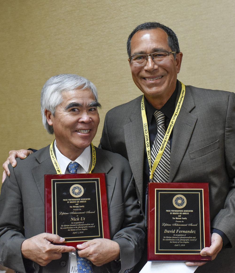PPAGLA Lifetime Achievement Award winners Nick Ut and David Fernandez.  Photo by Amy Gaskin