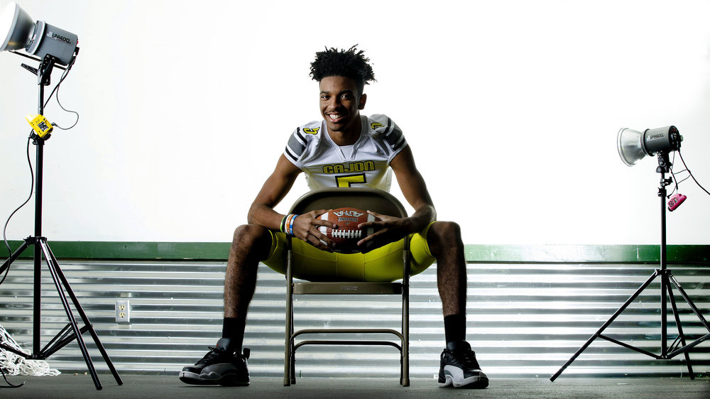 IE football player of the year is Cajon quarterback Jayden Daniels in San Bernardino on Thursday, December 6, 2018.